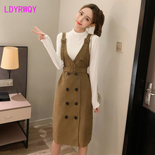 2019 new autumn Japanese style fashion bottoming shirt + strap skirt two-piece suit