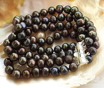 Unique Pearls jewellery Store 4row 8'' 9mm Black Round Freshwater Cultured Pearl Bracelet Charming Women Gift