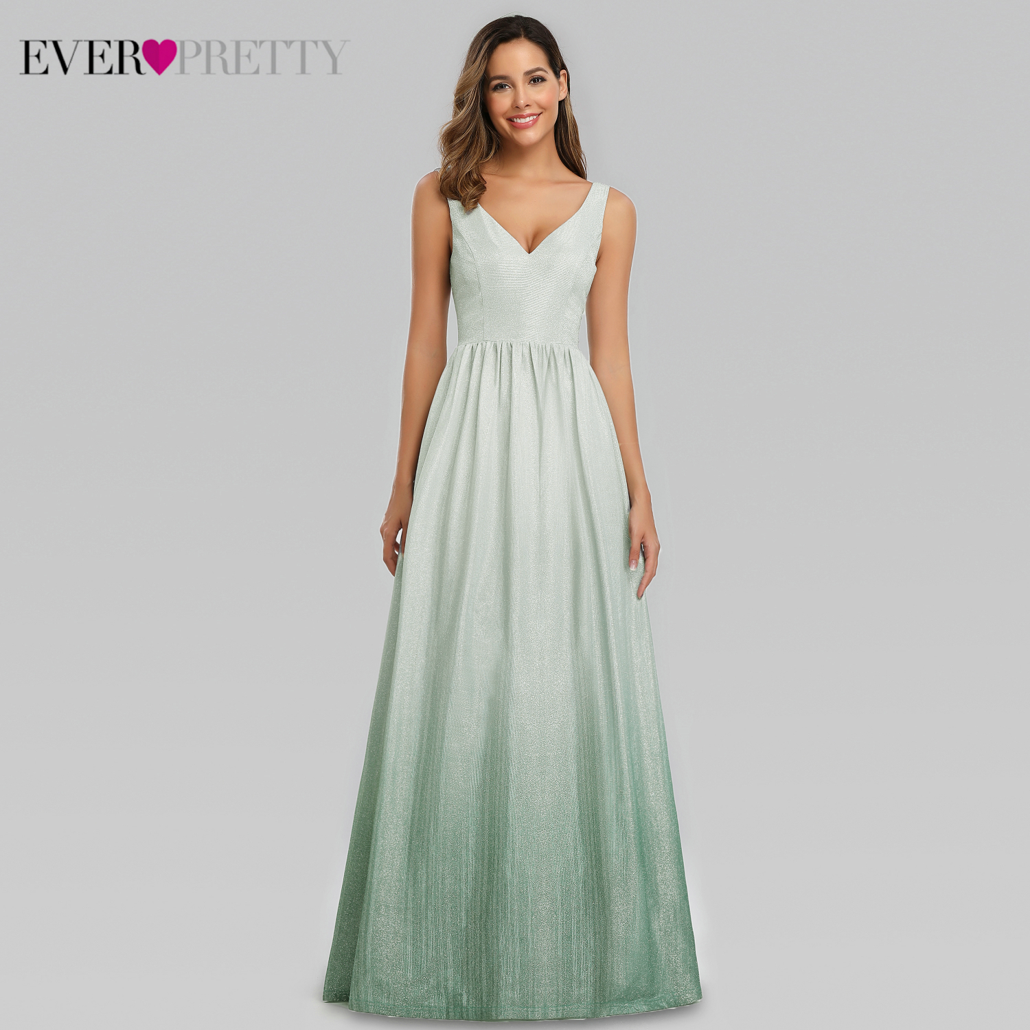 Elegant Emerald Green Prom Dresses Long Ever Pretty EP00988EM A-Line V-Neck Sexy Sparkle Party Gowns Gala Jurken Dames 2019