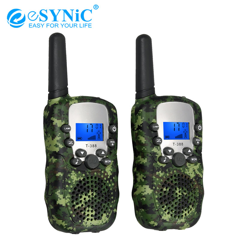 ESYNiC Portable T-388 Kids Walkie Talkie 3 KM Range Built In LED Torch Children Walky Talky 8 Channel Rechargeable 2 Way Radio