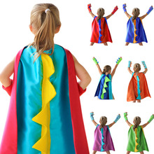 Детский костюм динозавра на Хэллоуин, накидка с шипами, аксессуар динозавра, перчатки, Детский костюм с изображением динозавра на Хэллоуин