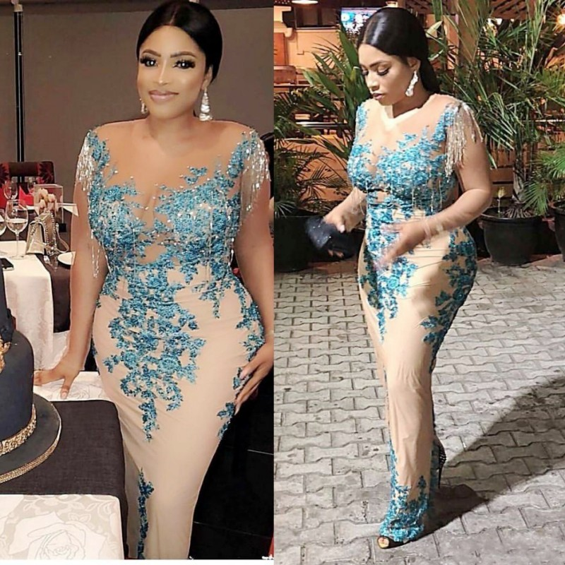 Aso Ebi Mother Of The Bride Dress With Tassel Beads Pearls Plus Size African Nigerian Lace Sequins Mermaid Evening Gowns Sheer Neck Illusion Full Sleeves Prom Dress Sexy