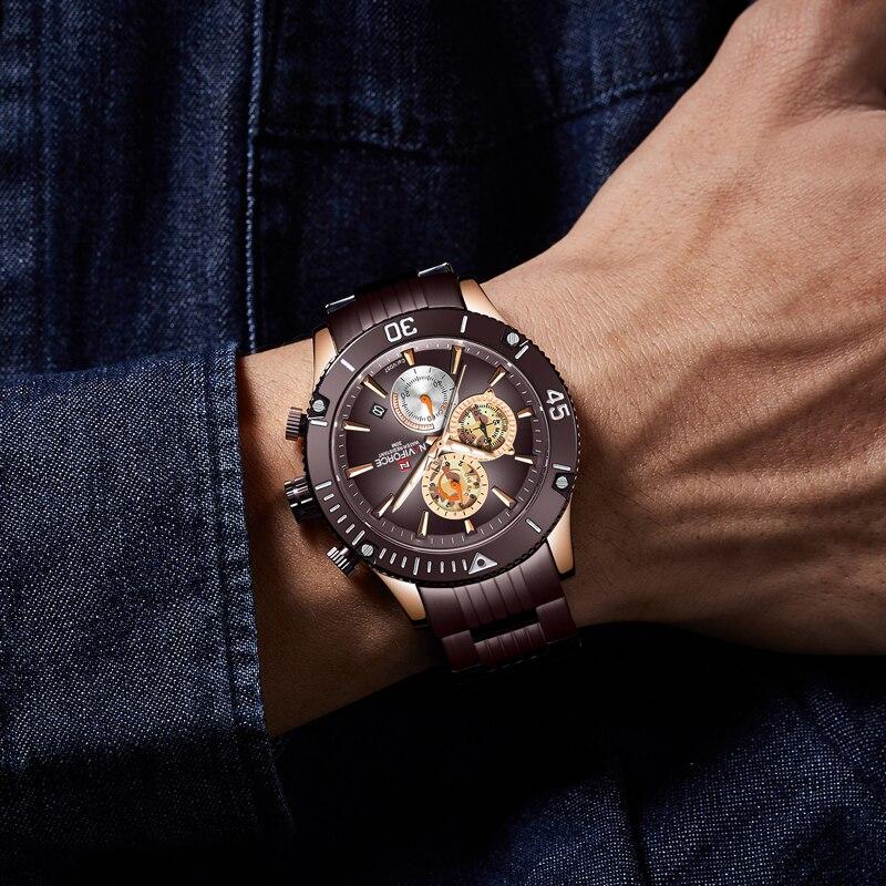 Топ бренд NAVIFORCE мужские часы модные роскошные коричневые из нержавеющей стали мужские деловые часы мужские повседневные спортивные водоне... - 6