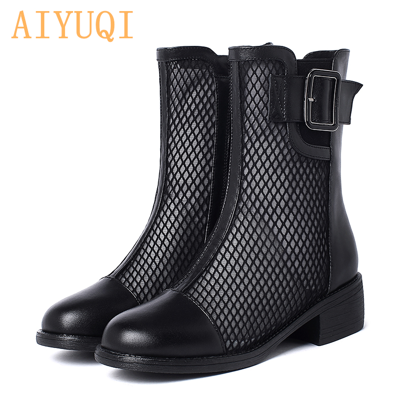 AIYUQI Women Spring Boots 2020 New Genuine Leather Shoes Women Mesh Comfortable Breathable Ladies Lace Summer Boots