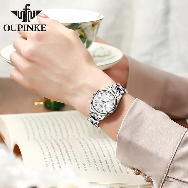OUPINKE Top Luxury Women Wristwatch Automatic Mechanical Waterproof Watch Sapphire Mirror Tungsten Steel Watchstrap Lady Watches 2