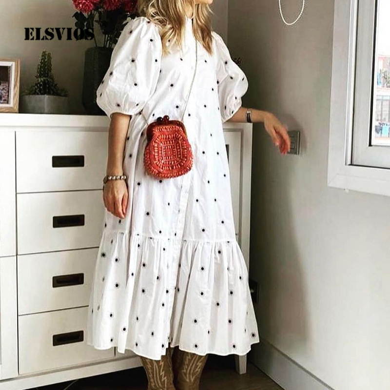 Women 2021 Spring Summer Dress Casual Printed Stand-up collar Half Sleeve Button Dress Elegant Ladies Maxi Party Dresses Vestido