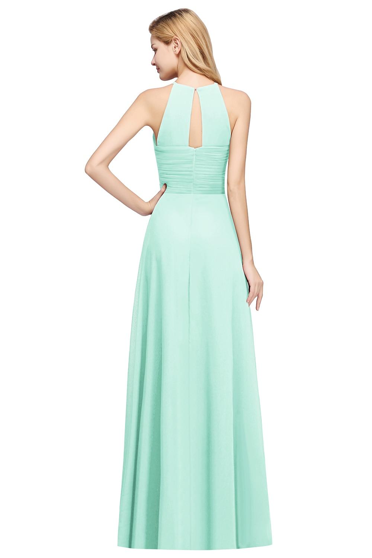 Long Mint Green Chiffon Bridesmaid Dresses 2020 Wedding Party Guest Gown For Women Halter Sleeveless robe demoiselle d honneur