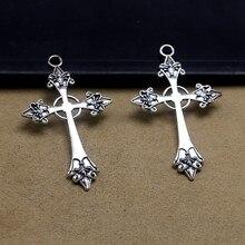 5 pces 43x26mm gótico cruz charme pingentes, grande prata cor instrução trad goth jóias que fazem acessórios de jóias