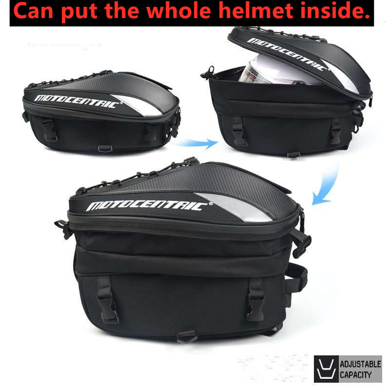 Men's Motorcycle Bag Waterproof Motorcycle Backpack Black Travel Luggage Bag with Racing Race Moto Helmet Suitcase Saddlebags