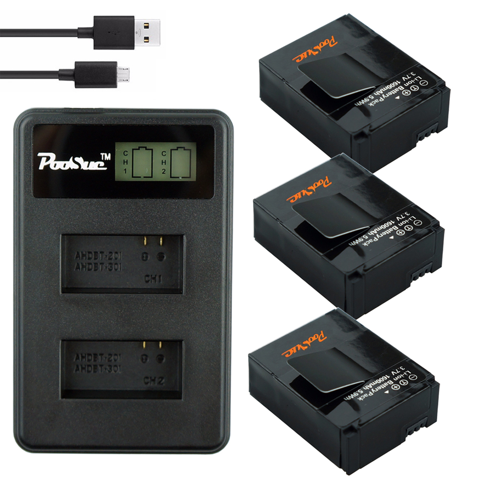 3x 1600mAh AHDBT-301 Go Pro Hero 3 <font><b>battery</b></font> + LCD Dual charger for <font><b>GoPro</b></font> 3 <font><b>hero3</b></font> Hero 3+ Action camera accessories image