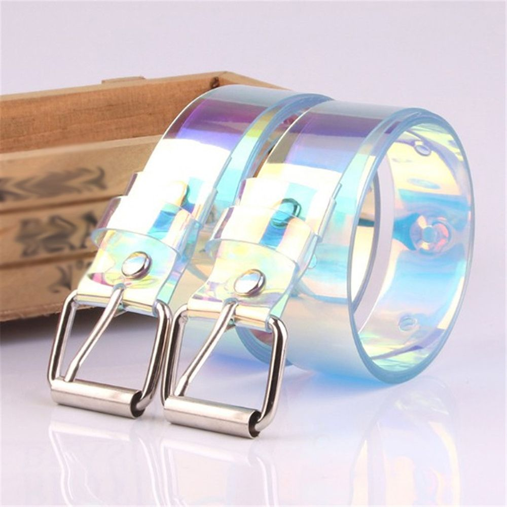 2019 Women Transparent Laser Holographic Rainbow Clear Pin Buckle Wide Belt Waist Bands Strap Ladies Invisible Punk Waistband