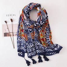 Spring and Summer New Korea Retro National Style Thailand Travel Sunscreen Scarves Geometric Scarf Shawls for Woman