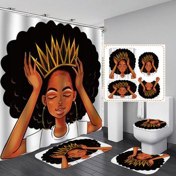 Afroamerykanie kobiety z koroną zasłona prysznicowa Afro afrykańska dziewczyna królowa księżniczka kurtyny kąpielowe z dywanikami zestaw nakładek na sedes tanie i dobre opinie Poliester Nowoczesne Scenic 12 16dBY Ekologiczne Polyester Fiber 45 x 75 cm 17 7 x 29 5 180 x 180 cm 70 8 x 70 8 bathroom toilet room shower room etc