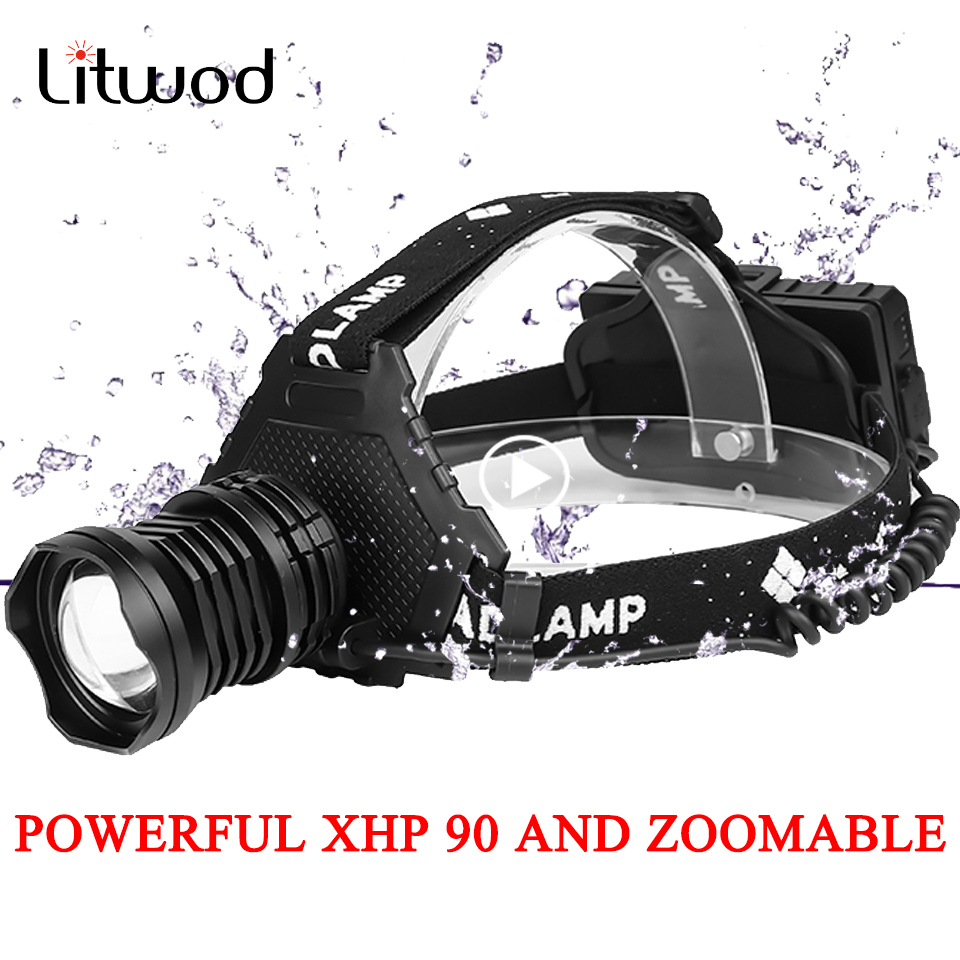 Litwod 2064Z45 The Most Powerful XHP90 Led Headlamp Headlight 32W Zoom 18650 Power Bank  Flashlight Head Lamp