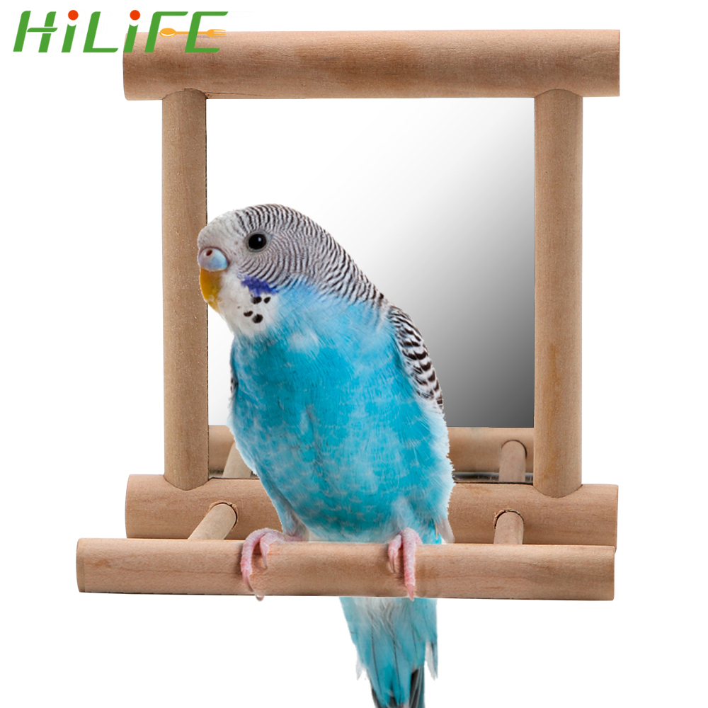 HILIFE For Cockatiel Parrots Climb Wooden Birdcage Accessories House Decoration Parrot Brid Pet Toy With Mirror Bird Supplies
