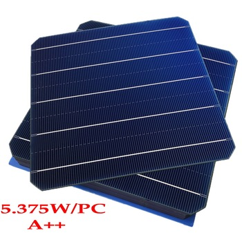 100Pcs 5.375W max 6W 22.0% Effciency Grade A 156 * 156MM Photovoltaic Mono Monocrystalline Silicon Solar Cell 6x6  Solar Panel