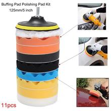 5inch Car Polishing Disc 11Pcs/Set Self-Adhesive Buffing Polishing Drill Adapter Waxing Wheel For Car Polisher Sponge Wool I6E6