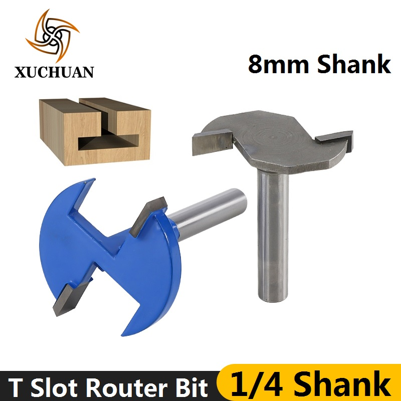 1pc 1/4''(6.35mm) 8mm Shank T-Slot & T-Track Slotting Router Bit Carbide CNC End Milling Cutter Wood Router Bit