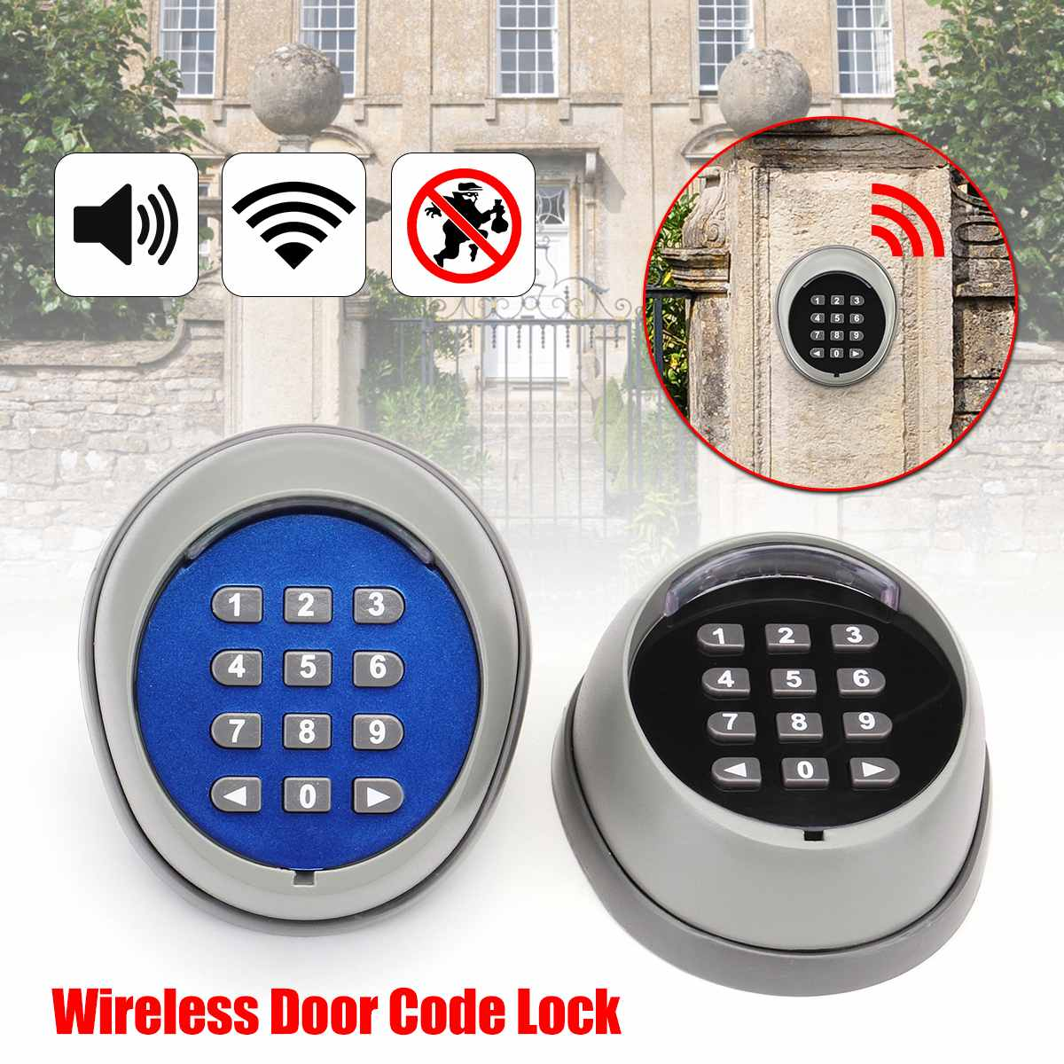 Home Wireless Black ABS Universal Durable Security Smart Easy Install Password Lock Remote Control Keyless Code Small Door