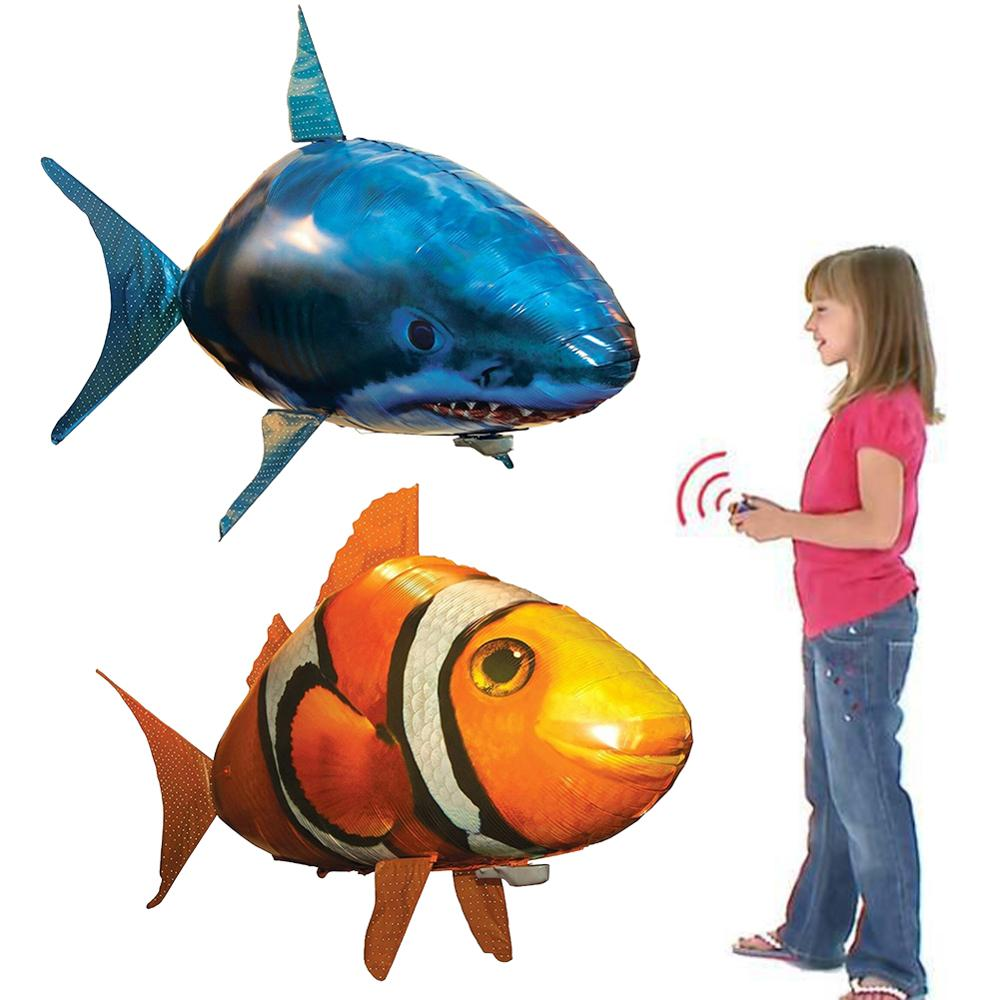 Air Swimming Fish Toys Remote Control Shark Toy Inflatable Shark Clown Fish Helium Balloon Air Plane Toy For Kids Children Gifts