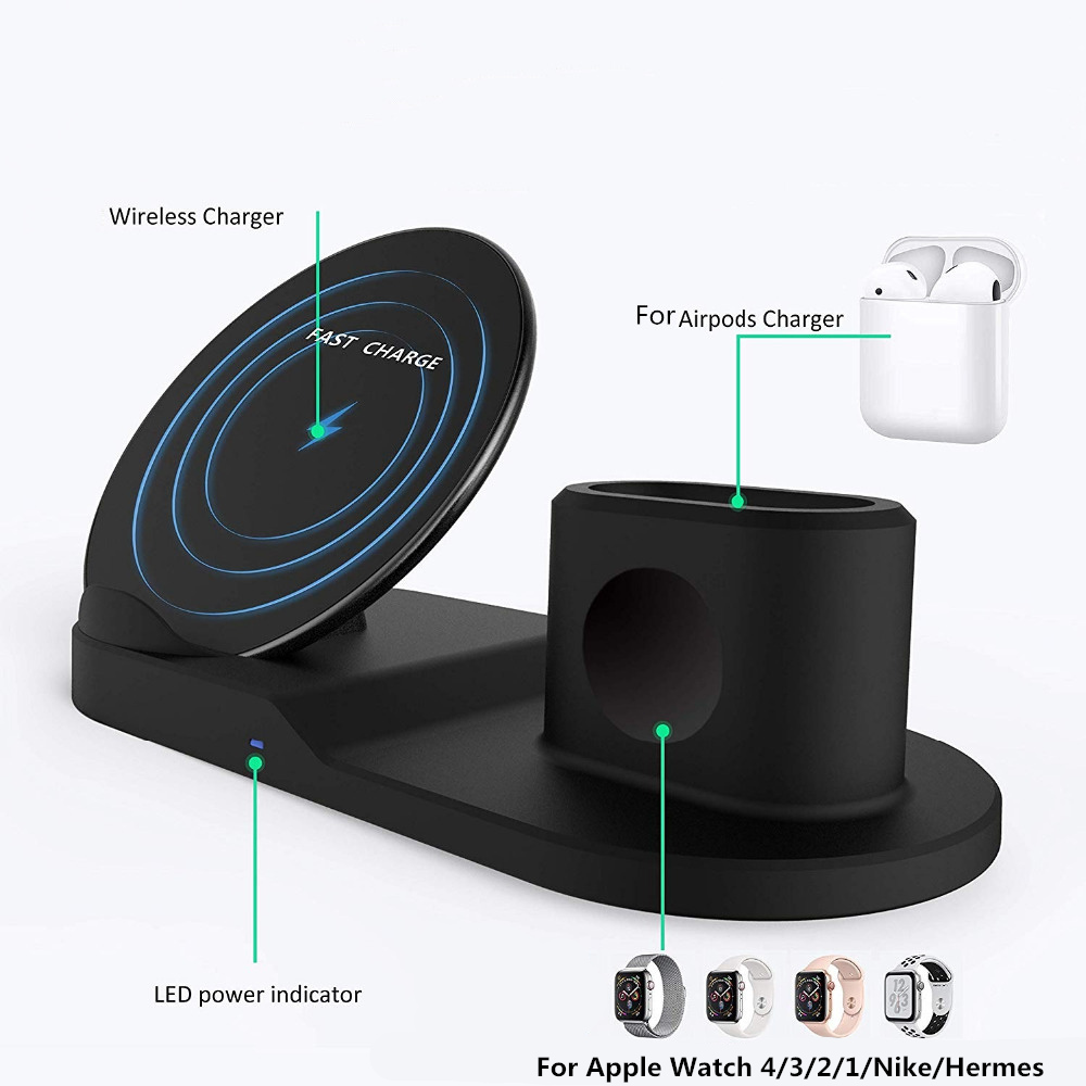 Image 4 - For Apple watch 4 5 3 2 stand 3 In 1 Qi Wireless Charger Fast Charging For iPhone XS Max XR X 8 Plus Samsung S9 S8 Note 9 Airpod-in Watch Stents from Watches