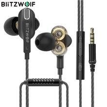 BlitzWolf BW ES6 3.5mm auricolare cablato doppio dinamico driver Stereo Gaming con doppio microfono per iPhone Xiaomi Laptop