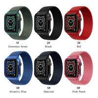 Correa + funda para Apple watch, correa elástica de nailon de 44mm, 40mm, 38mm y 42mm, iWatch series 3, 4, 5, se, 6, 2, 1, lazo trenzado Solo