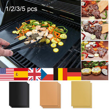 Non-Stick BBQ Grill And Baking Mats Reusable Telfon Coooking Plate For Party PTFE Grill Pad Barbecue Outdoor Set Of 1/2/3/5pcs(China)