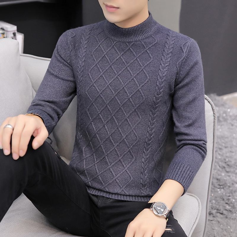 2019 Brand Clothing Sweater Men High Quality Cotton Knitted Men Pullover Autumn Winter Turtle-neck Men High Collar Sweater S-3XL