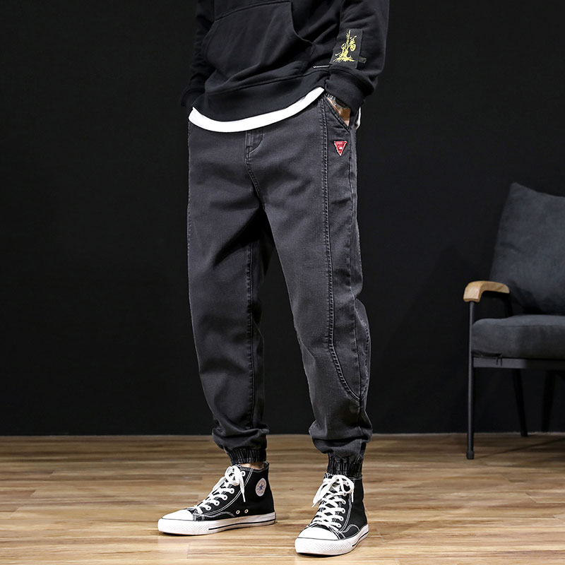 Japanese Fashion Men Jeans Black Color Loose Fit Spliced Designer Cargo Pants Men Harem Jeans Streetwear Hip Hop Jeans Homme