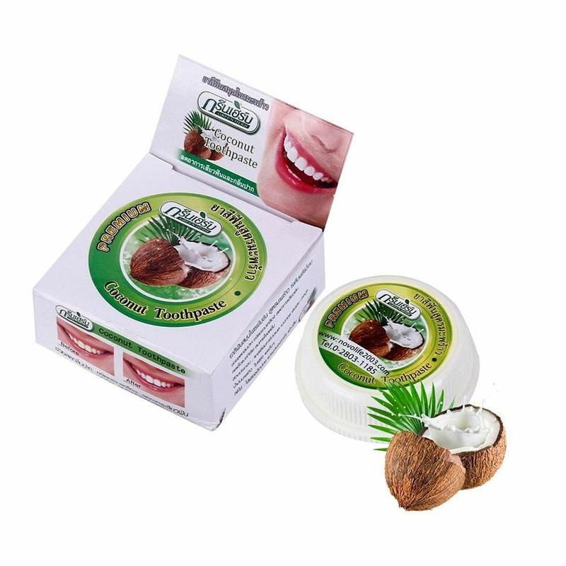 Thai Tooth Powder Coconut Flavor Toothpaste Whitening Cleansing Remove Toothstone Smoked Stains Antibacterial Tooth Paste