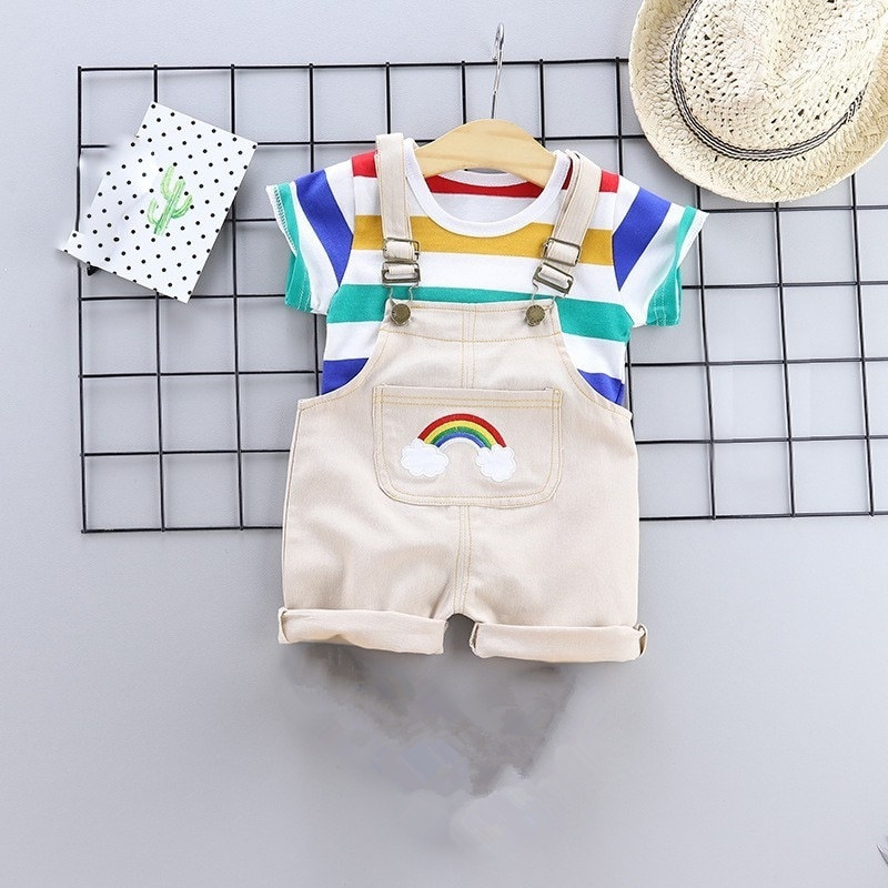 2 Pcs/set Summer Baby Boys Clothes Set Cartoon Toddler Baby Infant Girls Outfits T-shirt+Bib Pants Kids Clothing Sets Tracksuit