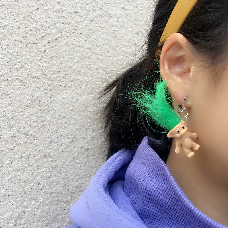 2020 New Creative Cute Doll Dangle Earring Macarons Colorful Hair Babies Pendant Earring for Girls Daily Jewelry Party Gifts