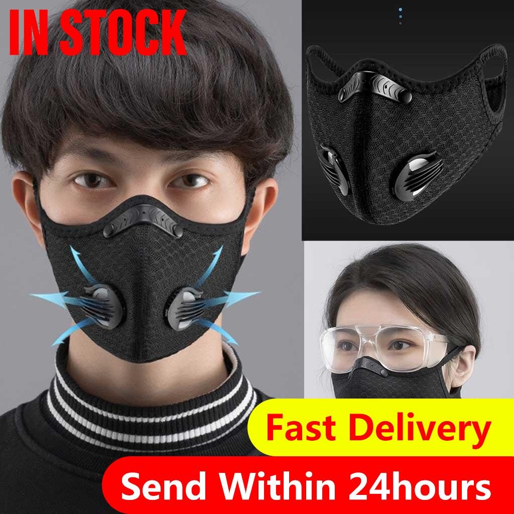 Черный унисекс маска для полости рта фильтр PM2.5 загрязнения воздуха лицевая маска маски из губки можно стирать многоразового использования...