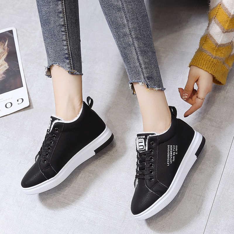 2020 hiver femmes chaussures chaud fourrure en peluche dame chaussures décontractées à lacets mode baskets Zapatillas Mujer plate-forme neige bottes g976