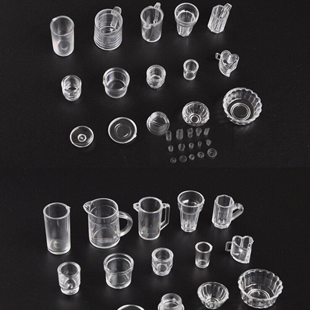 15 pçs/set mini dollhouse cup conjunto plástico utensílios de mesa beber garrafas de vinho goblets placas de cerveja acessórios casa boneca miniaturas