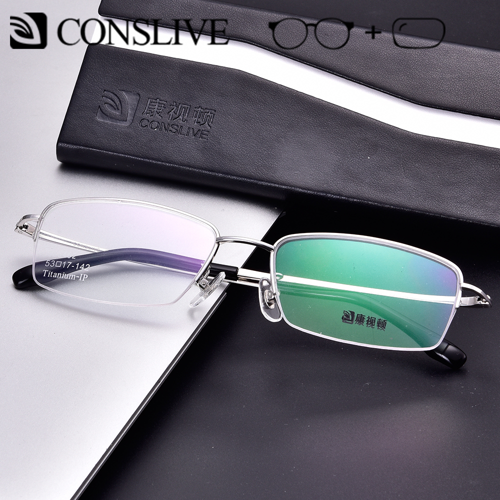 Prescription Glasses Titanium For Men Half Rimless Optical Glasses Lenses Male Eyeglasses Progressive Multifocal J85462