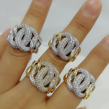 GODKI Luxury Link Chain Bold Rings with Zirconia Stones 2020 Women Engagement Party Jewelry High Quality