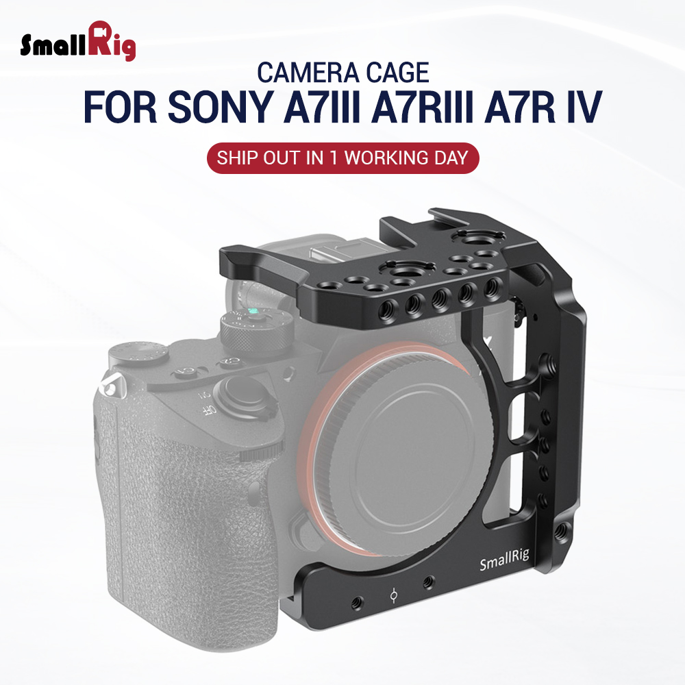 SmallRig A73 Half Cage for Sony A7 III A7R III A7R IV Camera Cage for Sony A7R4 W/ Cold Shoe Mount Nato Rail fr DIY Options 2629