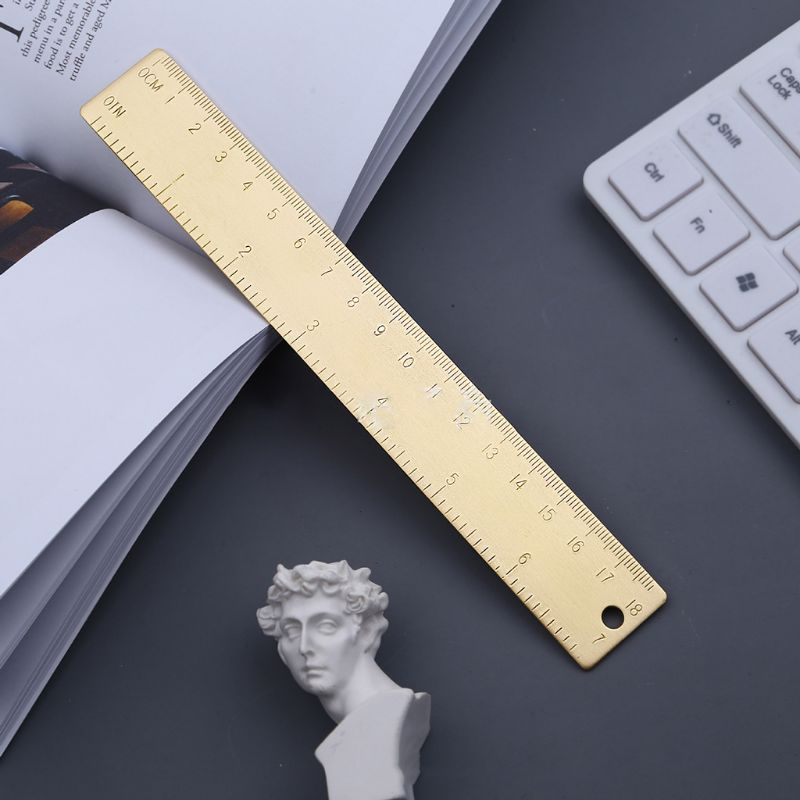 18cm Brass Ruler Bookmark Label Book Mark Cartography Painting Measuring Tool