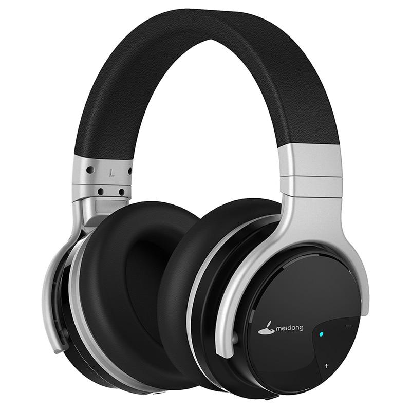 Meidong E7B-Słuchawki Bluetooth, aktywna redukcja hałasu, zestaw słuchawkowy, ponad 30 godzin słuchania z mikrofonem, głęboki bas