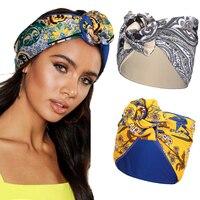 Haimekang-Cinta para la cabeza con cables para mujer, pañuelo de turbante con estampado, bandanas ajustables multiuso, accesorios para el cabello