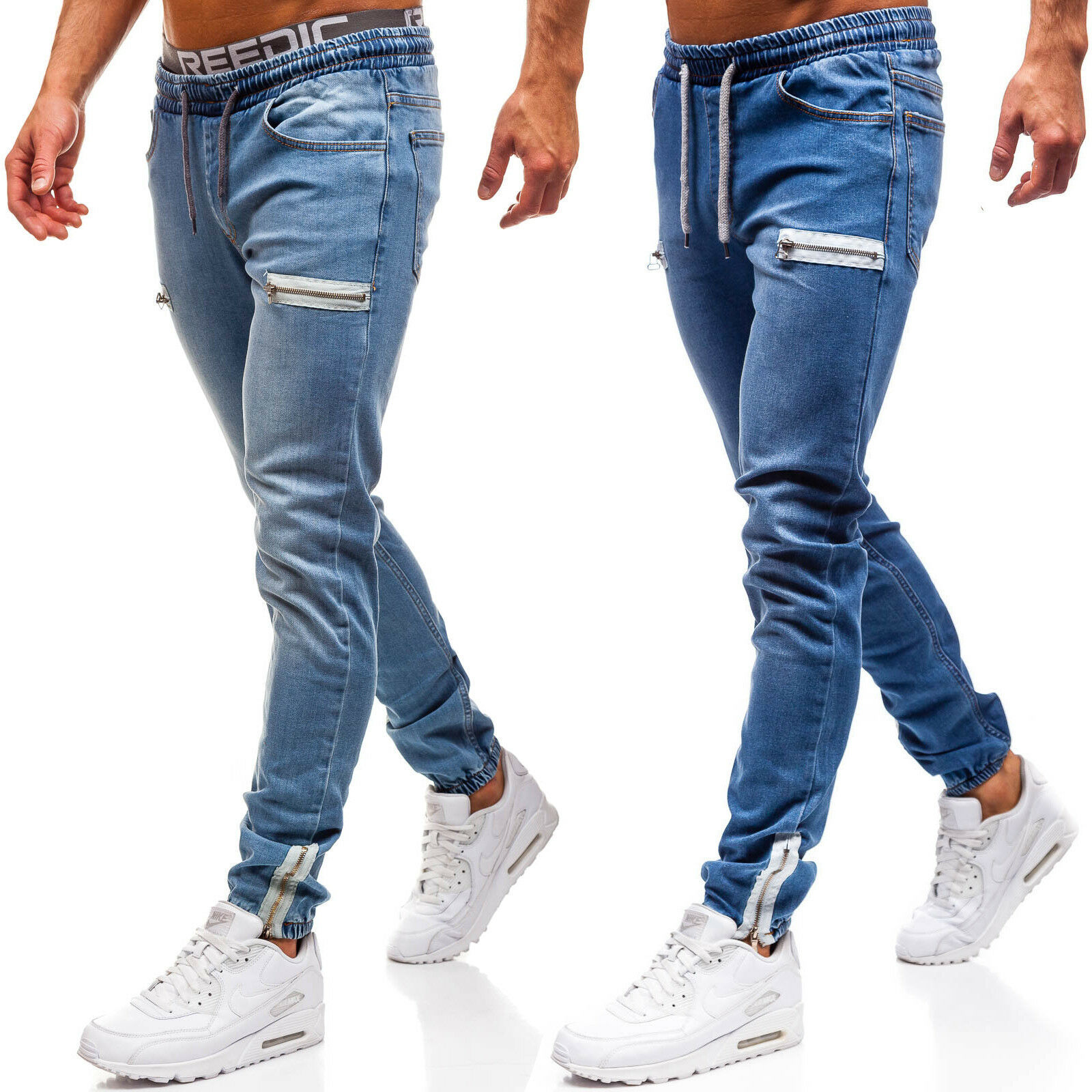 REPPUNK 2019 Fashion Trend Men's Jogging Pants Denim Fabric Casual Zipper Design Jeans Male Elastic Slim Feet Trousers
