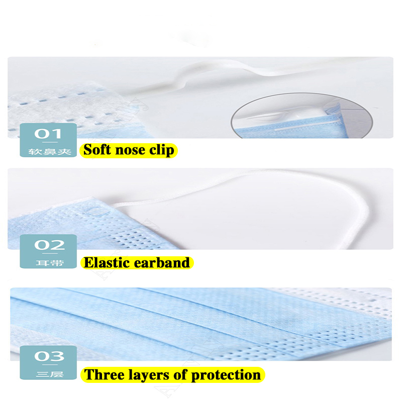 Image 2 - Anti Pollution 3 Layers Mask dust protection Face Masks Disposable Dust Filter Safety Mask Earloop Face Masks
