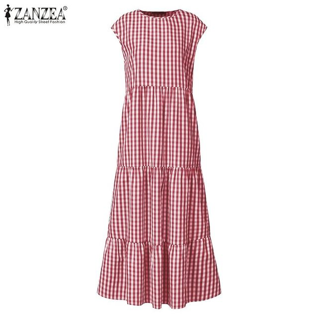 gingham dress, nice belted, tri-level skirting swing, cuff sleeve 4