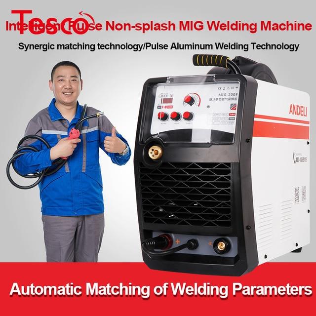 ANDELI Monophasé Intelligent Portable Synergique MIG Soudeur Dimpulsion MIG-200P En Aluminium Machine de Soudage Double Système MIG Soudeur