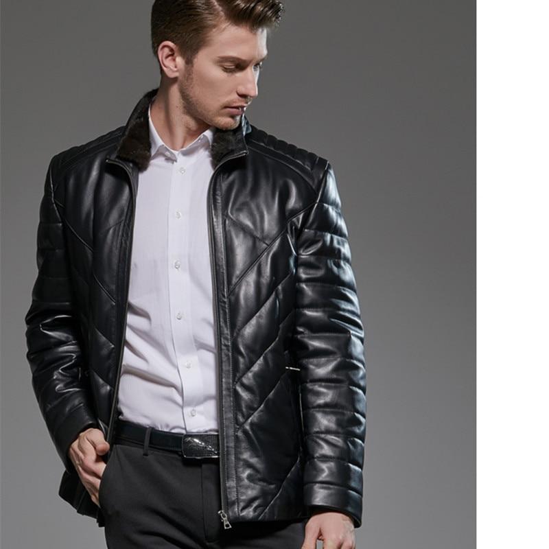 Leahter Jacket Mink Fur Collar Sheepskin Real Leather Jacket Men Plus Size Duck Down Winter Coat Men Casaco 18-1710