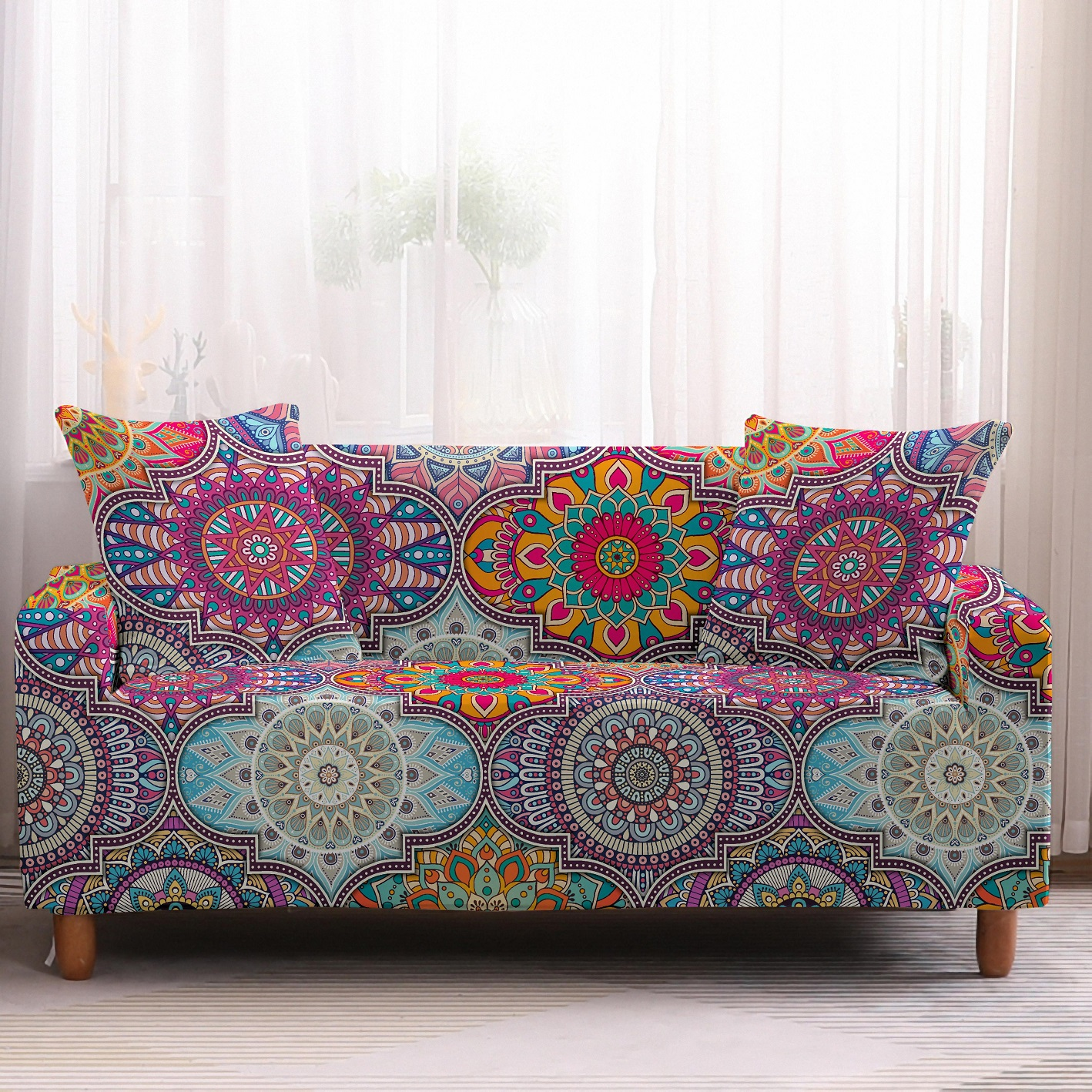 Bohemia Slipcovers Sofa Cover in Mandala Pattern to Protect Living Room Furniture from Stains and Dust