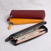 Echt Leer Rits Pen Potlood Tas Bestand Document Houder Met Grote Capaciteit Voor Zakelijke Briefpapier Schoolbenodigdheden 1127