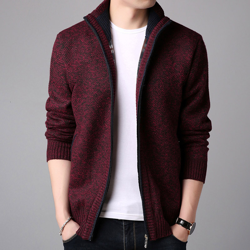 Thickening Solid Cardigan Sweater Men 2019 Autumn Winter Teenagers Slim Man Knitting Sweater Coat